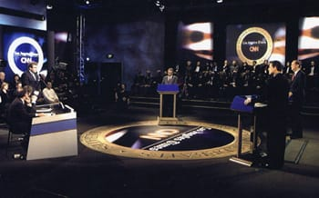 Dr. Teitelbaum questions candidates in 2000 presidential debate